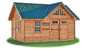 Custom designed victorian style storage shed with cedar siding and a metal roof