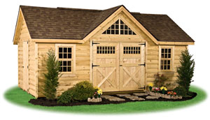 deluxe victorian style storage shed with rustic log siding