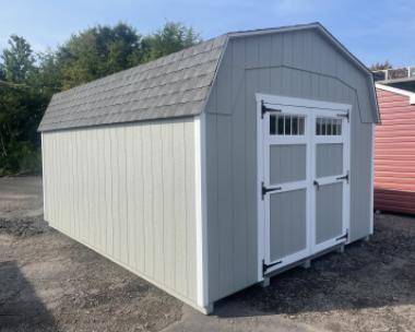14x24 Peak Garage with Sand walls, White trim, Green shutters, and Shakewood shingles